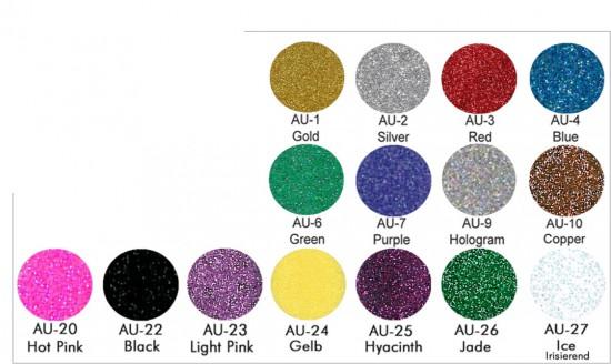 Aqua-Glitzer-Farbtabellle