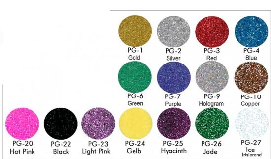 Glitzer Glimmer Glitter Farbtabelle