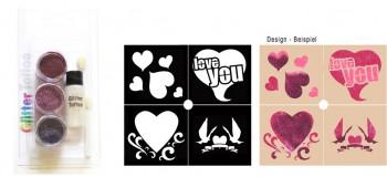 Glitzer Tattoo Set Heart
