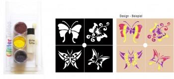 Glitzer Tattoo Set Schmetterling