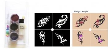 Glitzer Tattoo Set Tribal